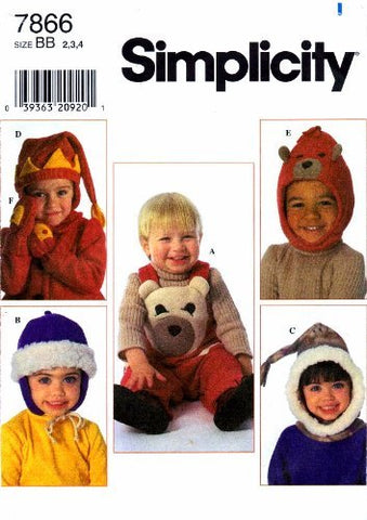 Simplicity 7866 Sewing Pattern Toddler Girls Boys Overalls Hats Mittens Size 2 - 3 - 4