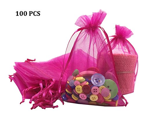 "Wholesale 100 pcs 3.7""x5.9"" Organza Bags Wedding Favor Pouches Packing Bags Party Gift Bags Candy Bag Jewelry Pouch Drawstring Bags Supplies,Sheer Bags,Mix color Gift Bags LOW Price (Rose red)"