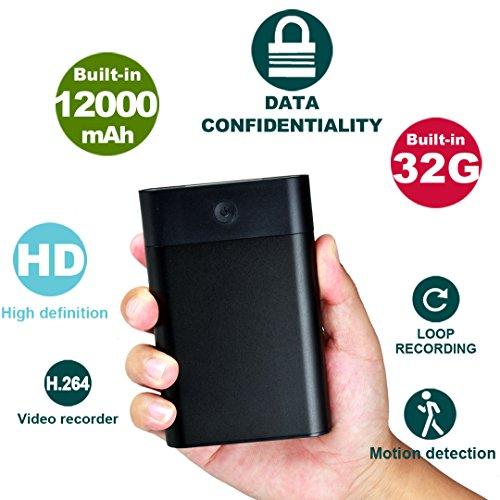 Hidden USB Spy Camera 12,000mAh Power Bank, 70 Hours Continuous Video Recording, 32GB Internal Memory Full HD 1080P for Home Social Experiment Security Surveillance