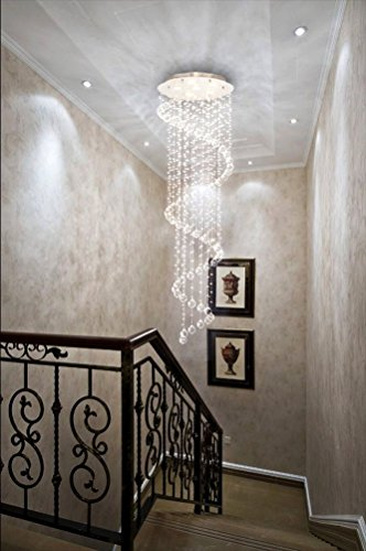 Modern Contemporary Swirl Chandelier Rain Drop With All Crystal Balls for Foyer Dining Room Kitchen D20'' X H61'' Of CYSTOP