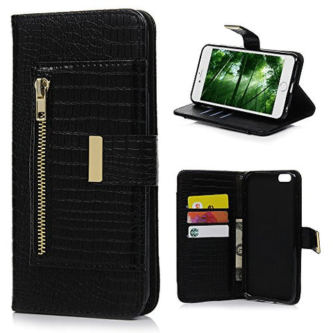 iPhone 6 Plus Case, iPhone 6S Plus Case, Flip PU Leather Wallet Multi-functional Anti-Scratch Crocodile Lines Cover TPU Inner Zipper Pocket Hand Strap Cash Slots with Dust Plug & Pen by YOKIRIN, Black