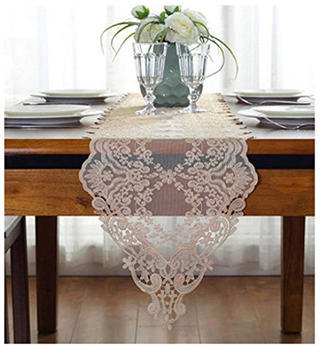 "WSHINE Embroidered Flower Tablecloth Lace Table Runner And Dresser Scarf Home Decor Party Supplies (11.8""59.1"", orange)"