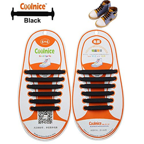 Coolnice No Tie Shoelaces for Kids, Men & Women | Waterproof & Stretchy Silicone Tieless Shoe Laces | for Athletic, Sneaker, Hiking Boots, Board Shoes & Casual Shoe | Eliminate Loose Shoelace Accident