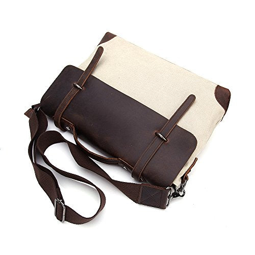cbc633ea95 P.J Vintage Canvas Leather Trim Satchel Messenger Laptop Shoulder Crossbody  Sling Bag (White
