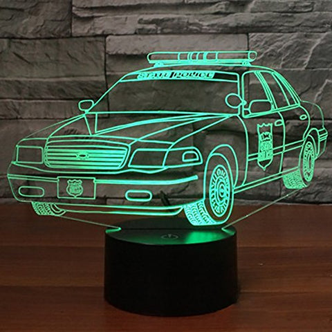 Police Car 3D Night Light Optical Illusion LED Desk Table Lamp with Touch Switch Control Button and 7 Colors Change Lighting Modes Gift Toy for Car Lover Kids Room Decoration by YKL World
