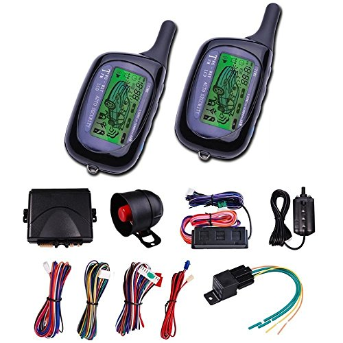 CarBest Vehicle Security Paging Car Alarm 2 Way LCD Sensor Remote Engine Start System Kit Automatic | Car Burglar Alarm System