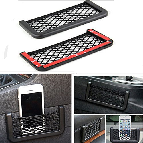 UNAKIM--Black Auto Car Storage Mesh Resilient String Bag Holder Pocket Organizer large