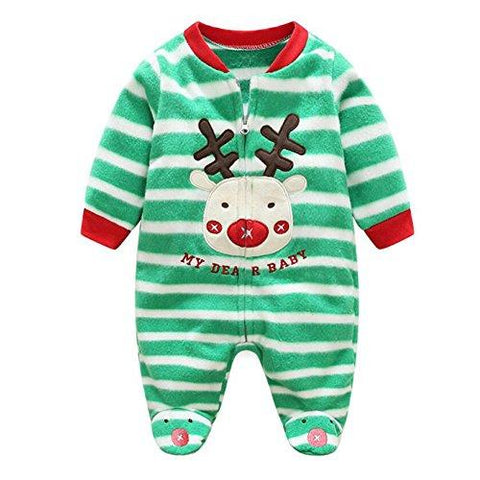 Deylay Neroborn Baby Pajamas Footed Fleece Romper Coverall Zip Front, Premium Soft and Breathable Cotton Green Striped Reindeer/66cm