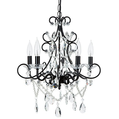 Theresa Black Crystal Chandelier Classic 5 Light Swag Plug In Glass Pendant Wrought Iron