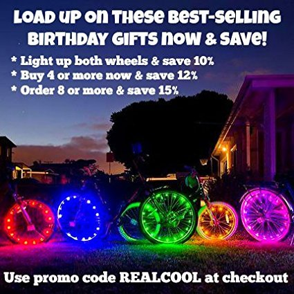 Super Cool LED Bicycle Wheel Lights (1 Tire, Multicolor) Best Xmas Gifts  for Kids - Top Cheap Secret Santa X-mas Presents of 2017 Popular Children