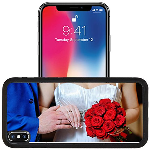 Luxlady Apple iPhone x iPhone 10 Aluminum Backplate Bumper Snap Case IMAGE ID: 41865706 Hands with gold wedding rings bride and groom on the background of a bouquet of red flowers