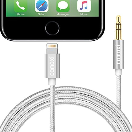 [Upgrade]Compatible IOS 10.3, Lightning to 3.5mm Premium Nylon Aux Cable [3Ft / 1M], Comoxi Lightning to Aux Male to Male Stereo Cable for iPhone 7 / 7plus to Headphones,Home / Car Stereo - Silver