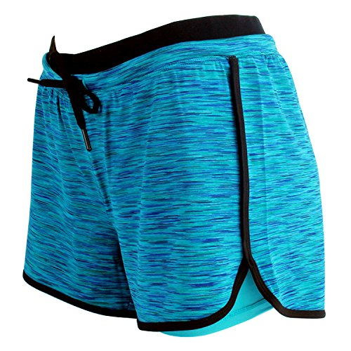 RIBOOM Women Workout Fitness Running Shorts, Double Layer Elastic Waistband Sport Shorts
