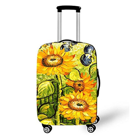 Dbtxwd Suitcase Protective Cover 3D Yellow flowers Dustproof Scratch-resistant Creative Travel Luggage Cover 18-28 inch , 5 , m