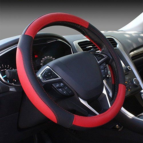 ZOZ Microfiber Leather Auto Car Steering Wheel Cover Universal 15 inch (Black&Red)