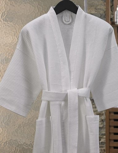 Organic Bath Robe. SPA style absorbent 100% Certified cotton in Waffle Weave construction (White) (Men - Large/X- large)