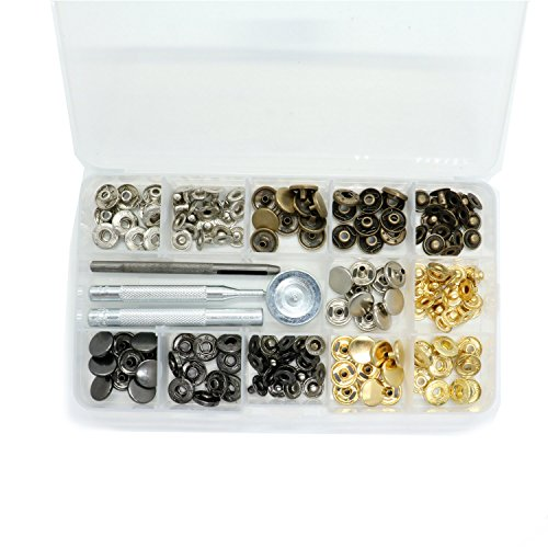 HUELE 40 sets Snap Fasteners Press Studs Sewing Clothing Snaps Button with  Fixing Tool for Fabric, Leather Craft (12 mm)