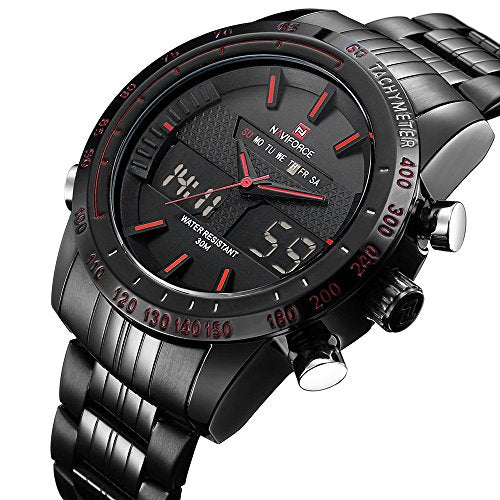 Men's Sports Quartz Watch Stainless Steel Mens LED Digital Waterproof Dual Display watches 9024