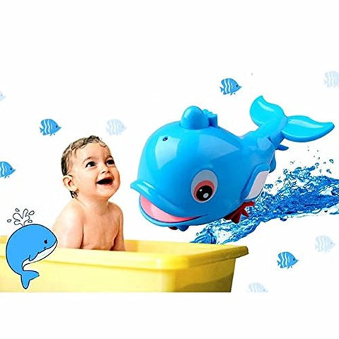 Cute Swimming Dolphin Spray Water Bath Toys for Baby Bath Funtime ; Durable Floating Bathtub Sprayer Shower Rotating Water