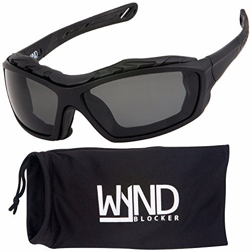 WYND Blocker Polarized Riding Sunglasses Extreme Sports Wrap Motorcycle Glasses (Black / PZ Smoke)