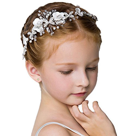 Headdress Flowers Crystal Pearls Rhinestones Beading Beautiful Girls Hair Accessories Princess Hair Jewelry Ceremony performce Prom Party Wedding 9 styles (CT)