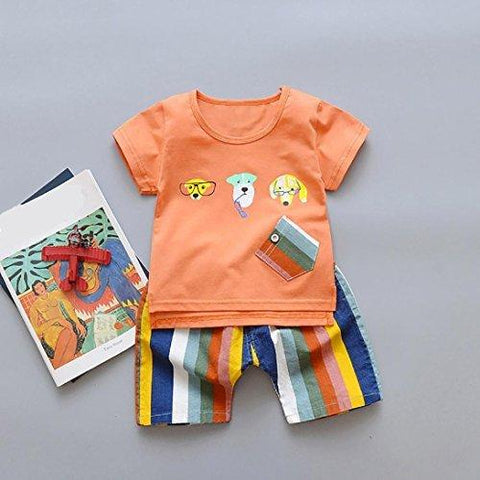 Lisin 2PC Toddler Kids Baby Boy Cartoon Dog Printed Short Sleeve T Shirt Tops+ Shorts Lovely Outfits Clothes Set (Size:24Months, Orange)