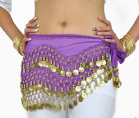 W&W Purple Belly Dance Skirt Hip Scarf