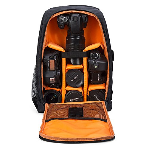 Waterproof Camera Bag, Camera Backpack for DSLR SLR Cameras with Tripod Strap and Rain Cover, 15.6'' Laptops, Tablets, Tripods, Flashes, Lenses and Accessories(Orange)