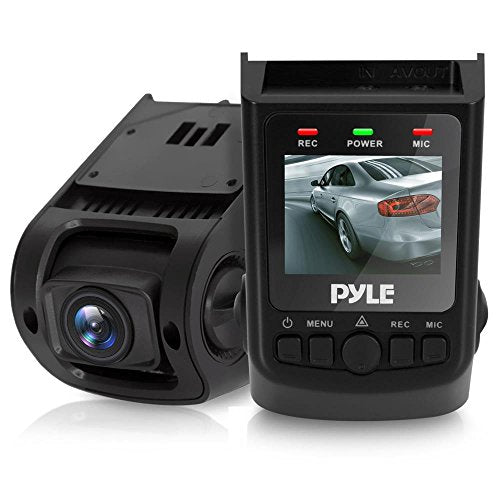 "Pyle Upgraded DVR Dash Cam Kit - 1.5"" Digital Screen Vehicle Dual Camera Video Recording System in Full HD 1080p and 32GB Memory w/ Motion Detect Parking Control Easy Setup PLDVRCAM71"