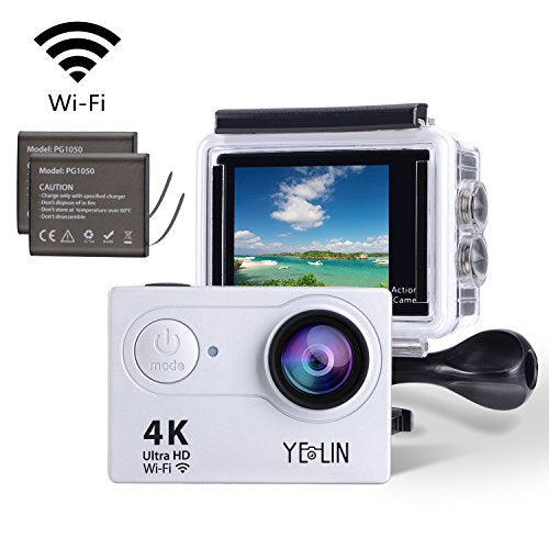 YELIN Action Camera 4K WiFi Waterproof Sport Camera HD 12MP Camcorder 170 Degree Lens with 2-inch LCD Screen 2 Rechargeable Li-ion Batteries 19pcs Accessories (Silver)