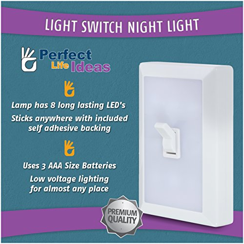 Perfect Life Ideas Light Switch Night Light Lamp Low Voltage 8 Leds  Lighting for Baby Nursery, Bedroom, Closets, Hospital Bed - No Wiring  Needed 1