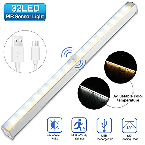 Fantastic Under Cabinet Light Solmore Wireless Motion Sensor Closet Lights 32Led Night Light Rechargeable Safe Lights Dual Colors White And Warm White For Download Free Architecture Designs Lukepmadebymaigaardcom