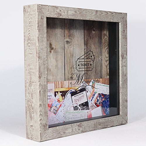 Lawrence Frames Weathered Birch Shadow Box Ticket Holder 10x10