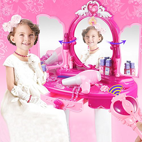 Girls Make Up Dressing Table, Kids Pretend Play Toy Beauty Mirror Vanity  Playset With Stool