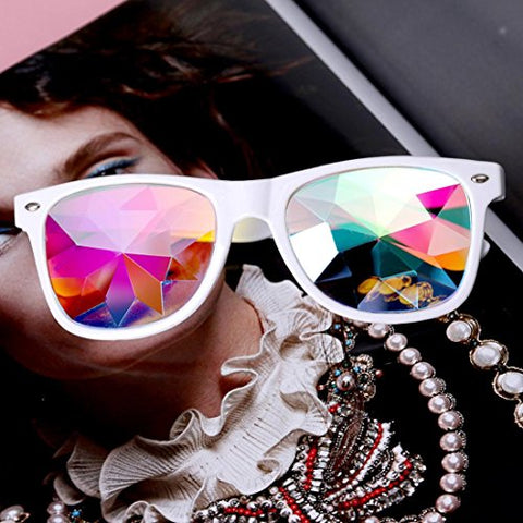 YOYORI Kaleidoscope Glasses Rave Festival Party EDM Colorful Festival Party Sunglasses Diffracted Lens for Men and Women (White)