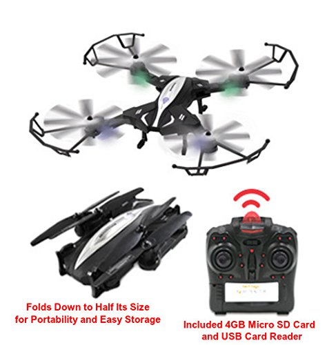 X4 Retractor RC Quadcopter Remote Control Folding Drone With Built-In Camera Takes Photos And Video, Performs Stunt Flips - 100+ Foot Range - 1-Key Return Sends Drone In Direction Of Take-Off Position