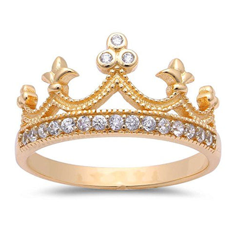 Yellow Gold Plated Cubic Zirconia Crown .925 Sterling Silver Ring Size 6