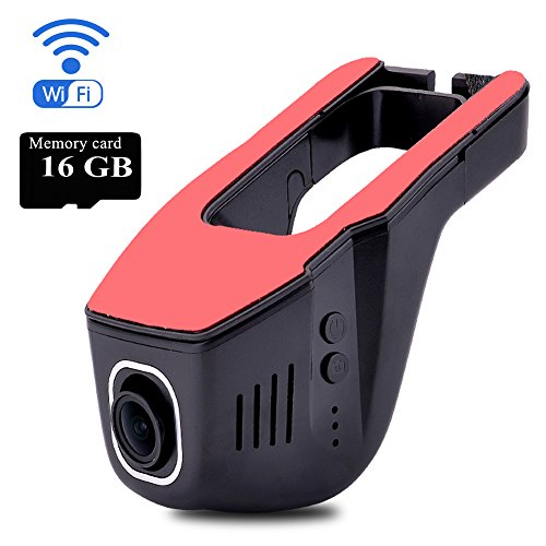 TekBow WiFi Car DVR Dash Camera Hidden Video Driving Recorder Full HD 1080P 170 Degree Wide Angle, Night Vision, G-Sensor, Parking Mode, WDR, IOS & Android APP, 16GB Micro SD Card Included
