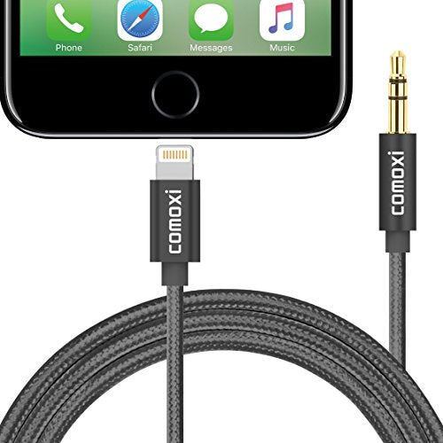 [Upgrade]Compatible IOS 10.3,Lightning to 3.5mm Premium Nylon Aux Cable [3Ft / 1M], Comoxi Lightning to Aux Male to Male Stereo Cable for iPhone 7 / 7plus to Headphones,Home / Car Stereo - Black