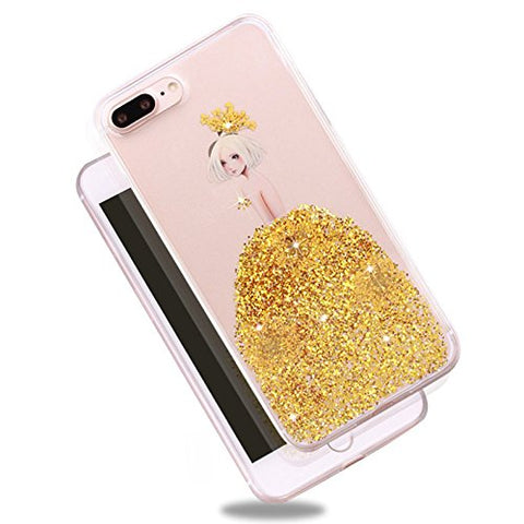Rebbygena Beautiful Purple Dress Design iPhone 8 Plus Case for Women Luxury Bling Glitter Sparkle Flexible Soft Rubber TPU Protective Cover for Apple iPhone 8 Plus Girly Slim Clear Case
