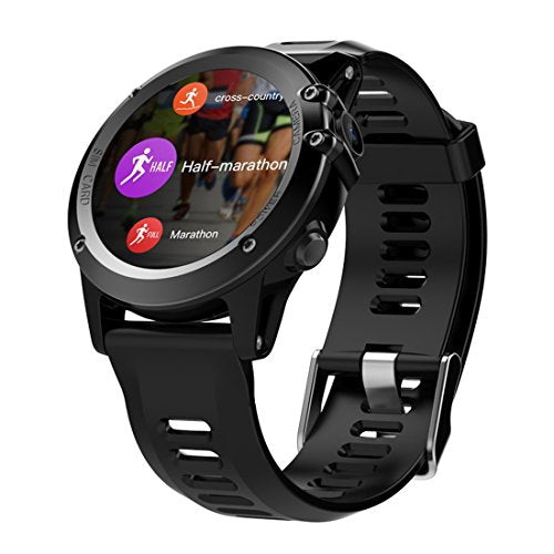 "H1 Smart Watch Android 4.4 Waterproof 1.39"" MTK6572 BT 4.0 3G Wifi GPS SIM For iPhone Smartwatch Men Wearable Devices, Black"