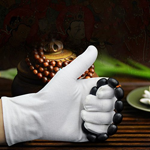 Gloves Cotton White Cotton Gloves For Dry Hands Cosmetic Inspection Jewelry Coins Spa Moisturizing Sleeping Soft Beauty Man Women 12 Pairs Cream