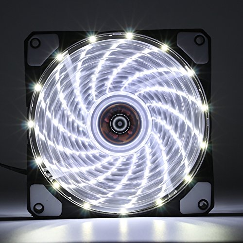 2 Pack 120mm White LED Case Fan Cooling PC and Light Up Computer Case with  Cool Look, Long Life Bearing with DC 15 LED Illuminating PC Case  Quiet
