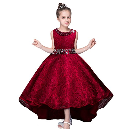 HUANQIUE Girls Wedding Pageant Dress Hi-Low Lace Bridesmaid Flower Girl Dresses Wine Red 7-8 Years