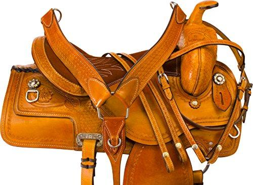 TOOLED WESTERN RANCH ROPING CUTTING TRAINING PLEASURE TRAIL HORSE LEATHER  SADDLE TACK SET 15 16 17 18
