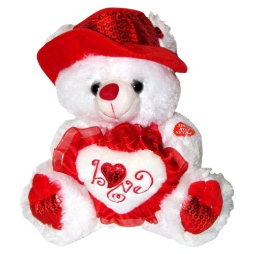 "Musical ""I Love You"" Teddy Bear with Red Hat (11"") Plays ""The Love Song"" - Best Valentine's Day Gifts: Valentines Day Gifts for Her, Valentines Day Gifts for Him, Valentines Day Gifts for Girlfriend, Valentines Day Gifts for Boyfriend, Valentines Day Gift"