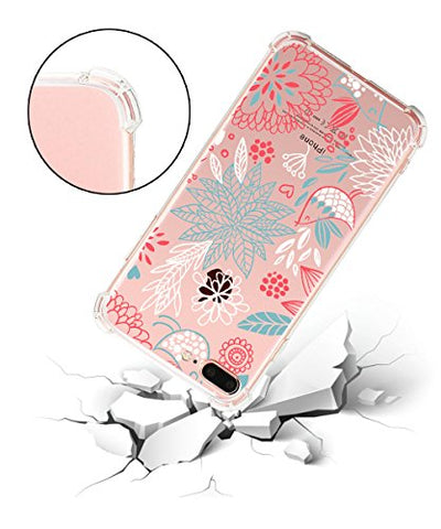 iPhone 7 Plus, iPhone 8 Plus,Hepix Floral Flower Garden Pattern Printed Clear Design Transparent TPU Case with Bumper Protective Case Cover for iPhone 7Plus (2016)/iPhone 8 Plus (2017)