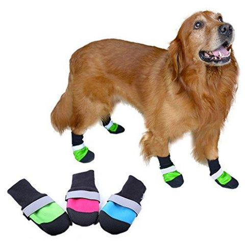ZX101 4Pcs Oxford Waterproof Pet Dog Shoes Anti-Slip Warm Comfortable Boots size XS (Green)