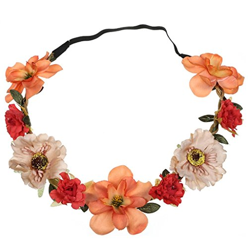 Hongxin Wedding Flower Wreath Headband Stretch Big Rose Garland Hair Accessories For Women Bridesmaid Delicate Hair Band Headwear Wedding Seaside Holiday Bohemia Hair Hoop (Orange 2)