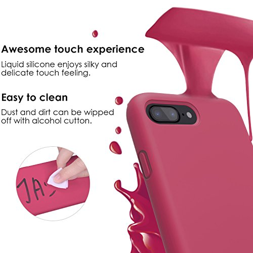 new product 3095e d8c91 iPhone 8 Plus Case, iPhone 7 Plus Case, JASBON Liquid Silicone Phone Case  with Free Screen Protector Gel Rubber Shockproof Cover Full Protective Case  ...